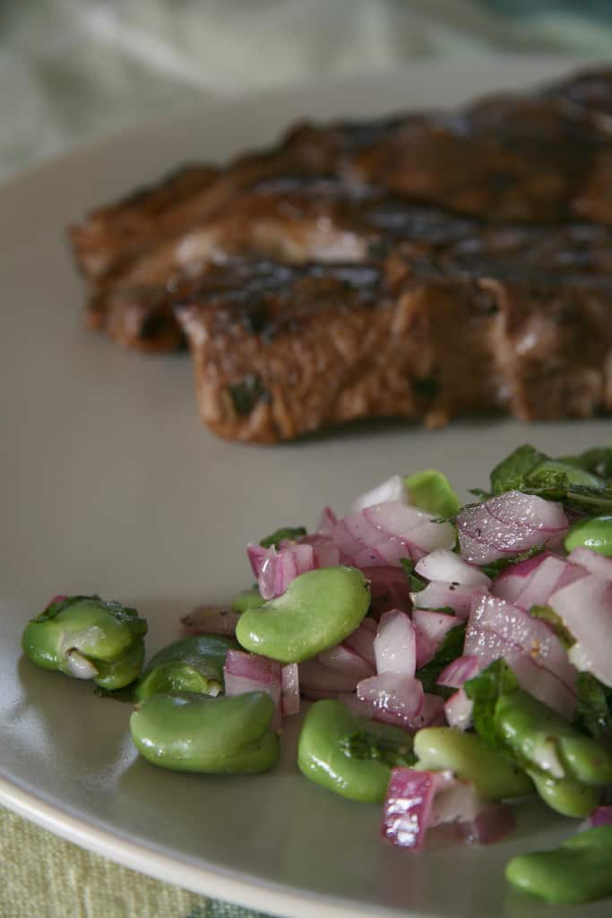 Zen and the Art of the Fava Bean – Fava Bean Salad with Marinated Lamb Chops