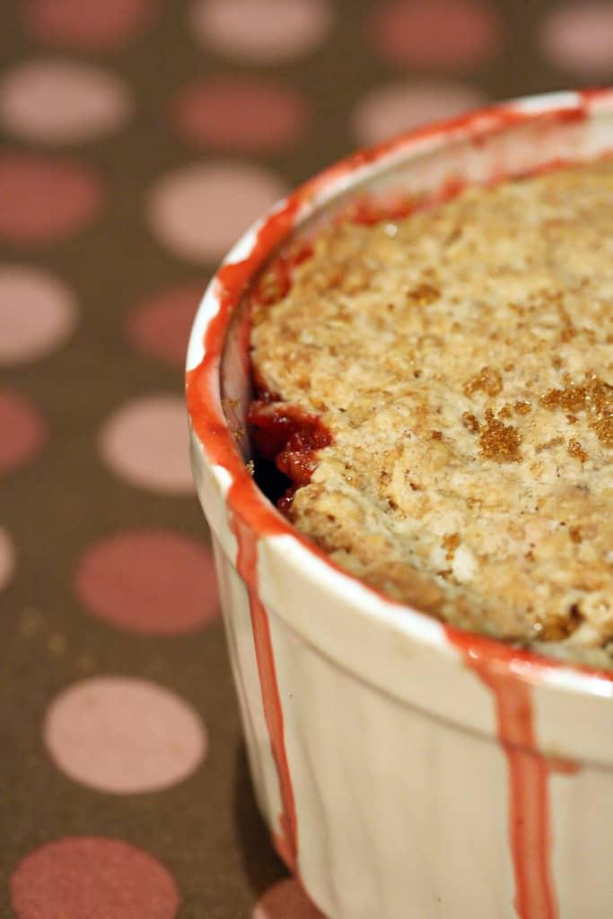 Desperately Seeking Spring – Strawberry-Rhubarb Crisp w/ Oatmeal Biscuit Crust
