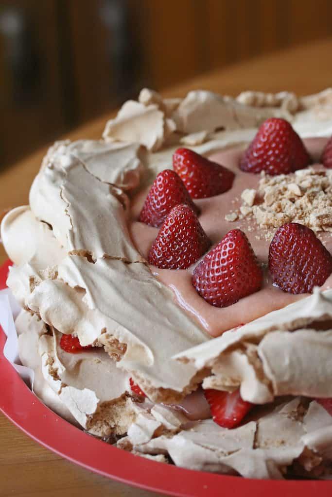 Exodus… with Pavlova – Brown Sugar Pavlova w/ Rhubarb Curd and Strawberries