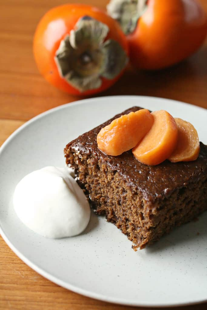 Sticky, Spicy, Sweet – Sticky Gingerbread w/ Poached Persimmons