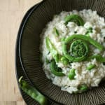 Spring is Sprung: Risotto with Fiddleheads, Favas and Snow Peas