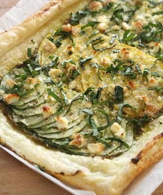 Savour Summer: Lemony Zucchini, Pesto and Feta Tart