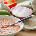 Bowl of Cold Gazpacho Soup