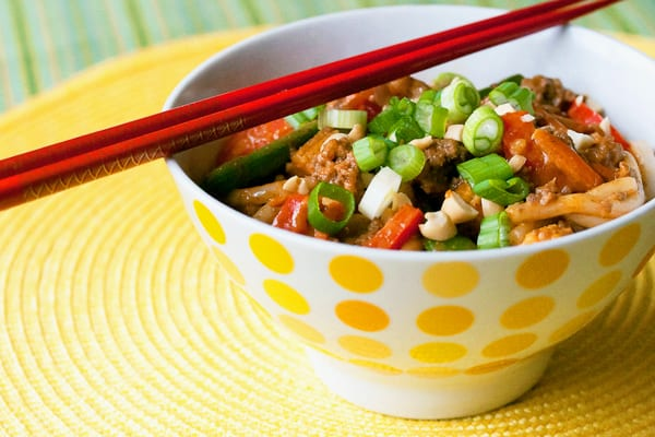 Udon Noodles with Spicy Peanut Sauce