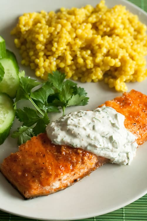 Coriander Planked Salmon with Cilantro-Yogurt Sauce ...