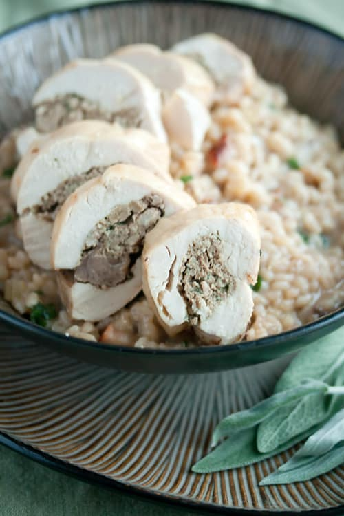 Almost Famous: Stuffed Chicken Breast Medallions on Kale and Walnut Barley Risotto