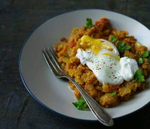 Spiced Lentils with Poached Eggs from The Bitten Word