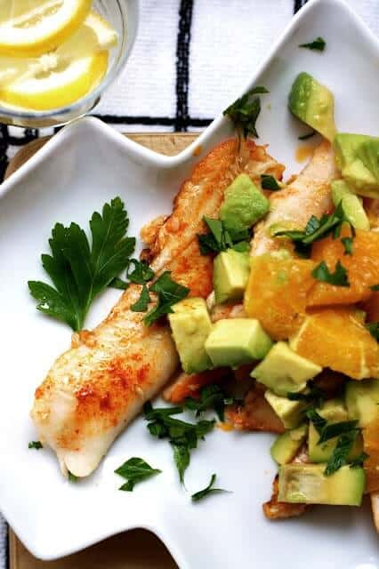 Fish with Orange Avocado Salsa from Josie Lee