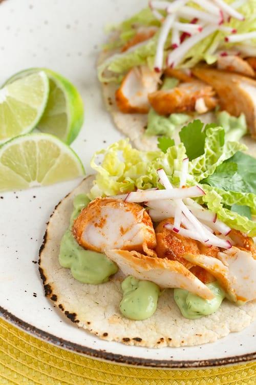Holy Guacamole: Spicy Fish Tacos with Avocado-Yogurt Sauce