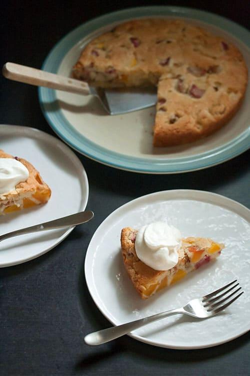 Secret Recipe Club: Easy Peach Rhubarb Cake | Crumb: A Food Blog