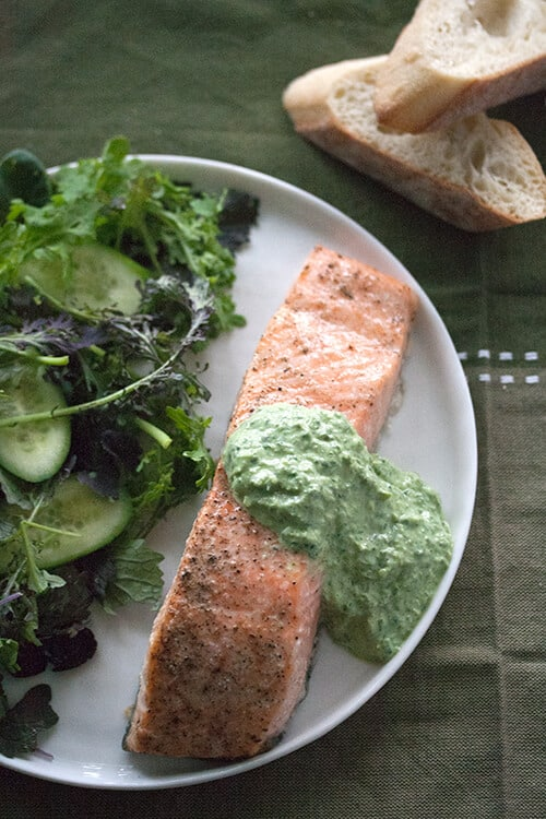 The Power of Sour: Planked Salmon with Fresh Sorrel Sauce