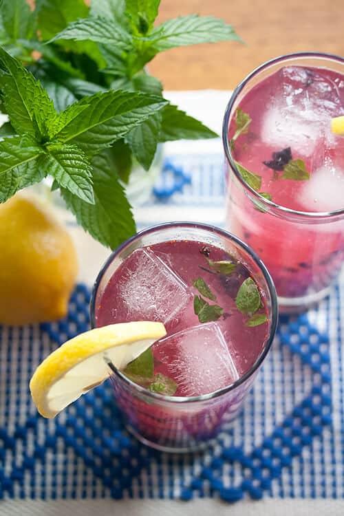 Blueberry Mint Fizz Cocktail (or Mocktail)