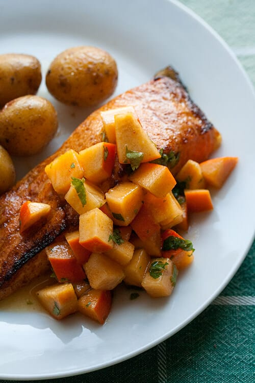Broiled Salmon with Persimmon-Lime Salsa