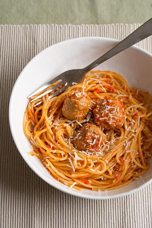 Turning the Page: Spaghetti with Chicken Meatballs and Spicy Red Pepper Sauce