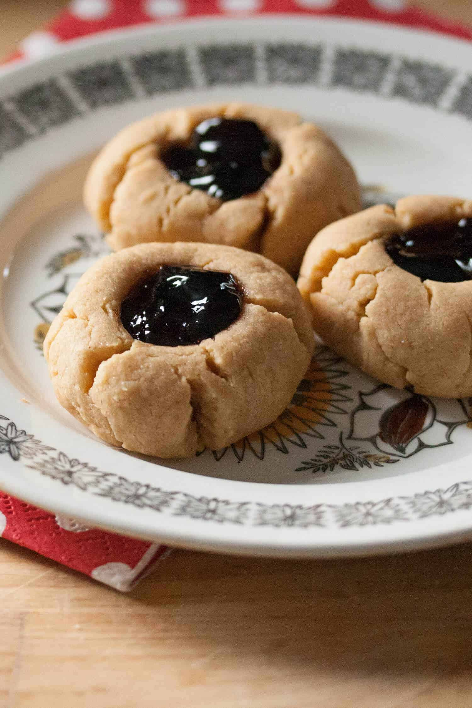 Peanut Butter and Jelly Thumbprint Cookies - Crumb: A Food Blog