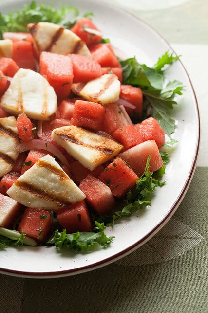 Watermelon Salad with Grilled Haloumi Cheese