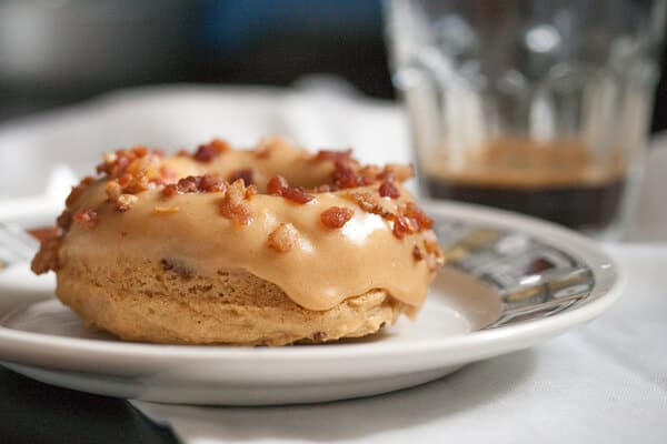 Maple Peanut Butter Donut with Bacon Bits