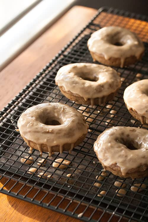 Buzz Buzz Buzz: Brown Butter Banana Donuts with Espresso Glaze for #NationalCoffeeDay