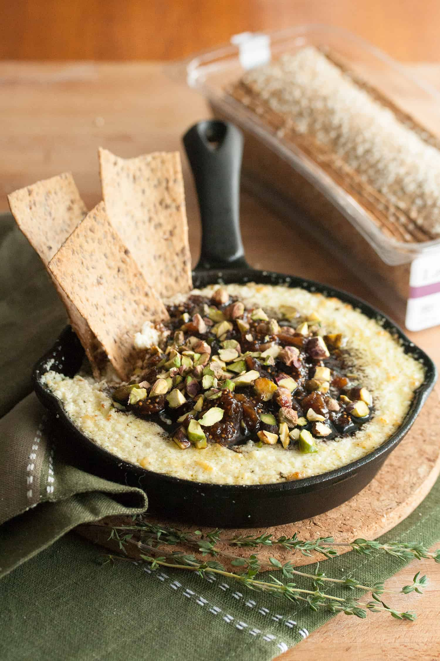 Lavash Me with Praise: Baked Goat Cheese Dip with Balsamic Fig Compote