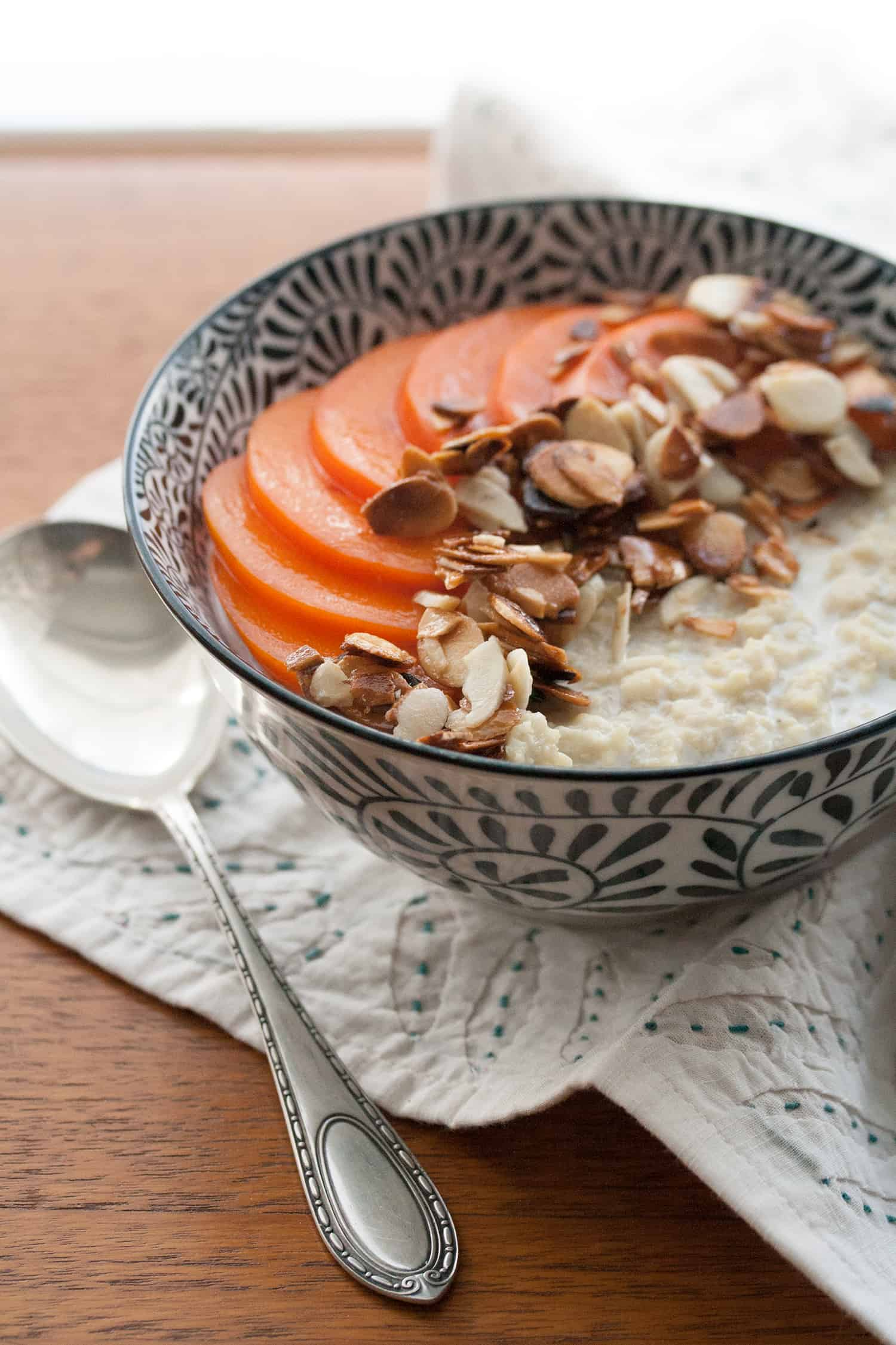 New Leaf: Creamy Millet Porridge with Persimmons and Toasted Almonds