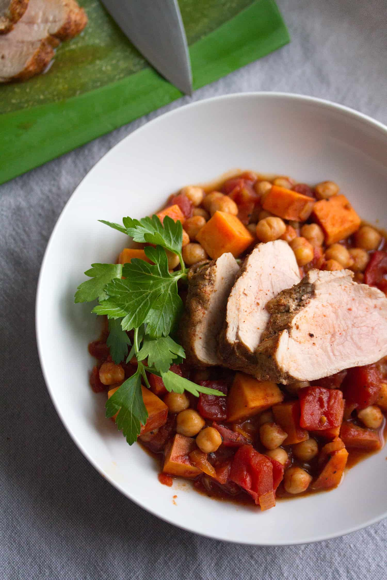 Roast Pork Tenderloin with Spicy Chickpea Stew - Crumb: A Food Blog