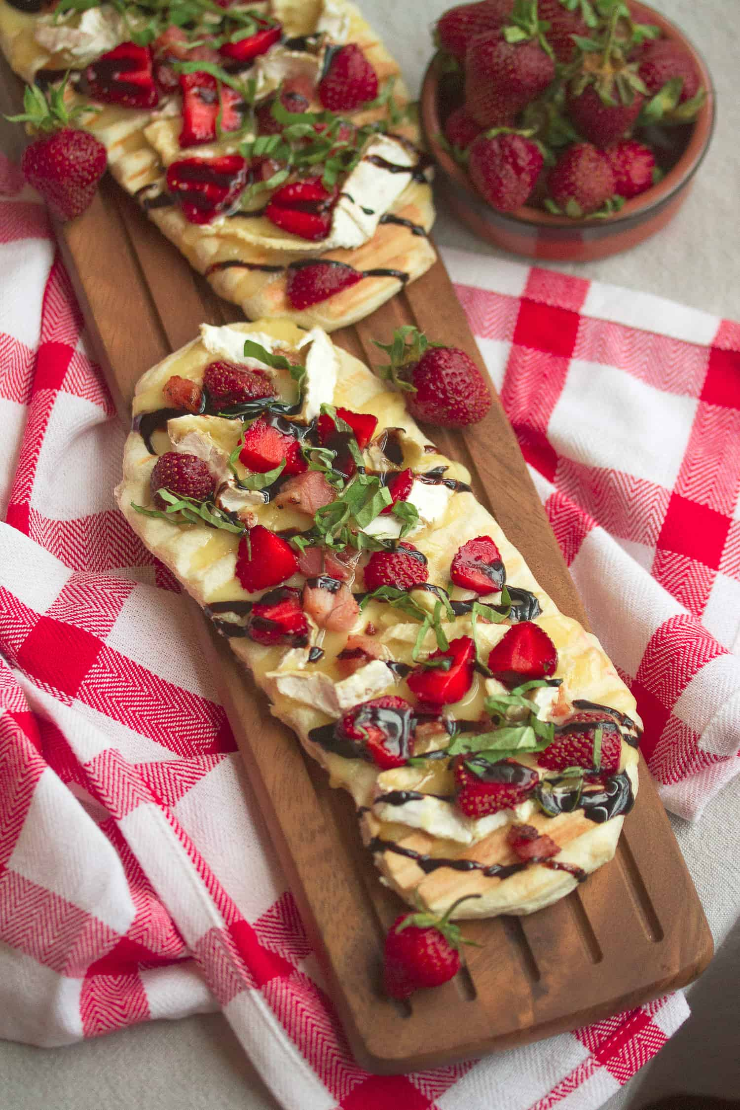 Grilled Strawberry and Camembert Flatbreads