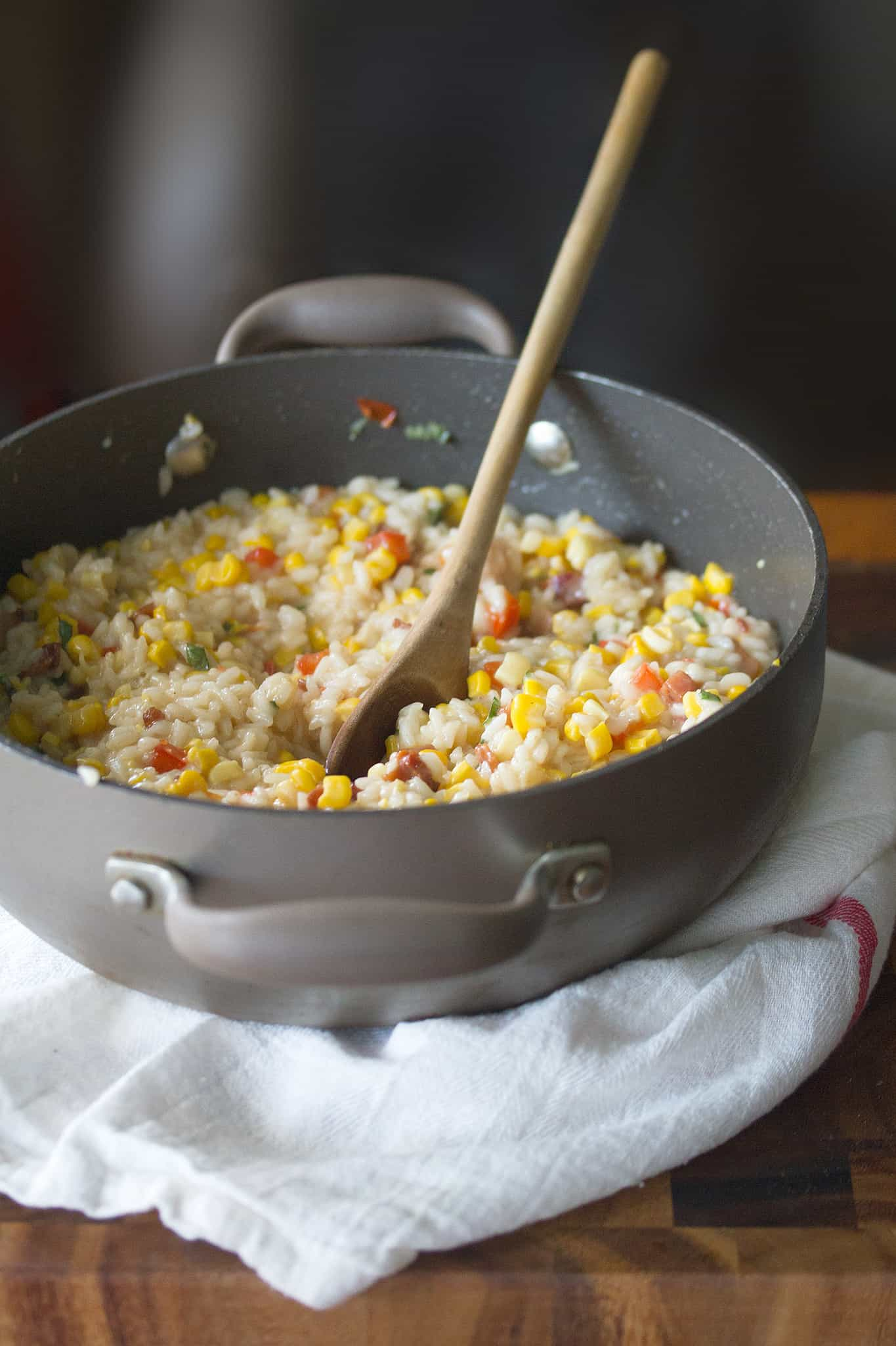 Corn, Red Pepper and Bacon Risotto