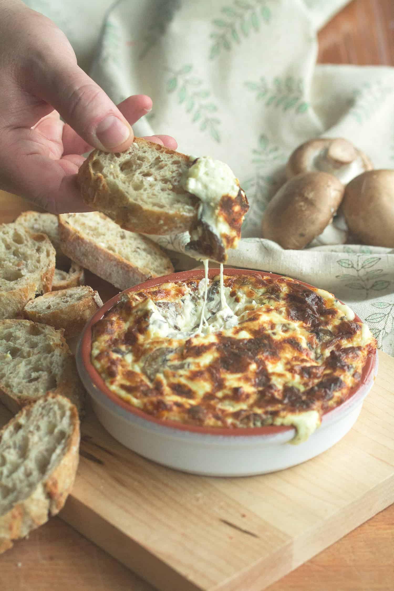 Truffled Hot Cheese Dip with Mushrooms