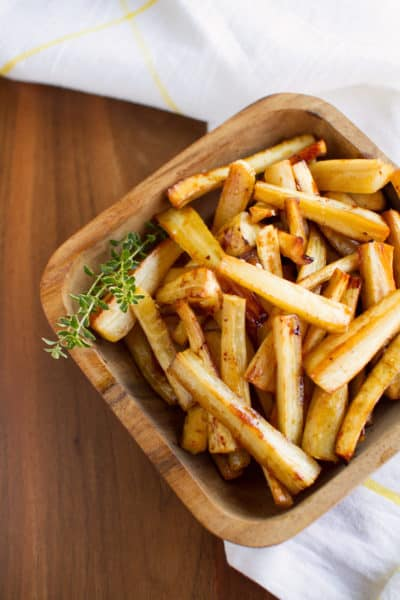 Sweet and Sticky Cider Roasted Parsnips
